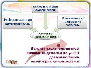 В системно-деятельностном подходе выделяется результат деятельности как целенапр