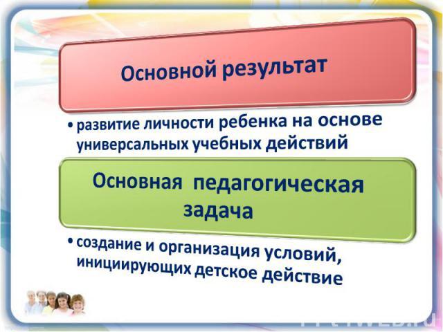 Основной результат развитие личности ребенка на основе универсальных учебных действийОсновная педагогическая задача создание и организация условий, инициирующих детское действие