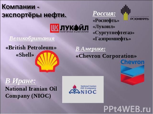 Компании -экспортёры нефти. Россия:«Роснефть»«Лукоил»«Сургутнефтегаз»«Газпромнефть»«British Petroleum» «Shell»В Америке:«Chevron Corporation»В Иране:National Iranian Oil Company (NIOC)