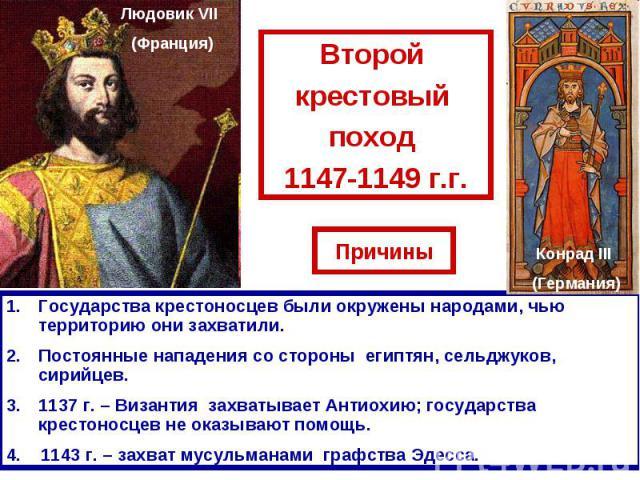 Второй крестовый поход 1147-1149 г.г.Государства крестоносцев были окружены народами, чью территорию они захватили.Постоянные нападения со стороны египтян, сельджуков, сирийцев.1137 г. – Византия захватывает Антиохию; государства крестоносцев не ока…