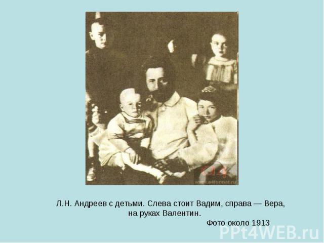 Л.Н. Андреев с детьми. Слева стоит Вадим, справа — Вера, на руках Валентин. Фото около 1913