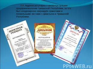 Л.Н.Андреев регулярно становится лучшим предпринимателем Чувашской Республики, з