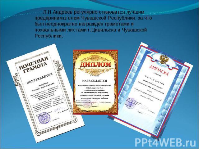 Л.Н.Андреев регулярно становится лучшим предпринимателем Чувашской Республики, за что был неоднократно награждён грамотами и похвальными листами г.Цивильска и Чувашской Республики.