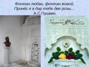 Фонтан любви, фонтан живой,Принёс я в дар тебе две розы… А.С.Пушкин.