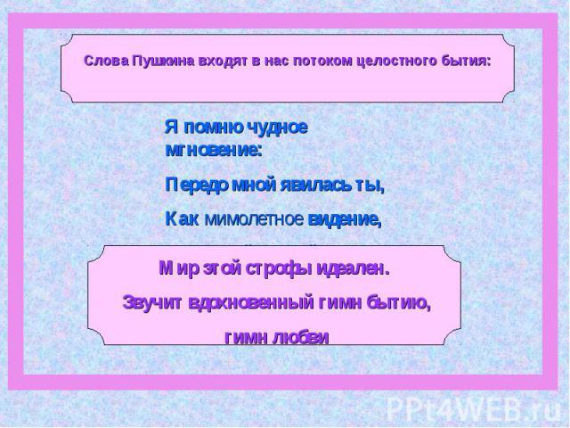 Слова Пушкина входят в нас потоком целостного бытия:Я помню чудное мгновение: Передо мной явилась ты, Как мимолетное видение,Как гений чистой красотыМир этой строфы идеален. Звучит вдохновенный гимн бытию, гимн любви