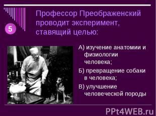 Профессор Преображенский проводит эксперимент, ставящий целью: А) изучение анато