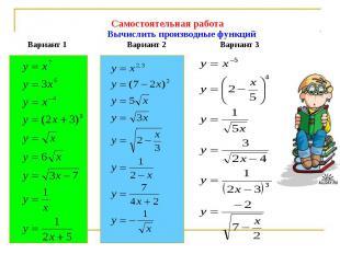 Самостоятельная работа Вычислить производные функцийВариант 1 Вариант 2 Вариант
