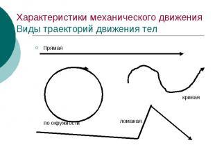 Характеристики механического движения Виды траекторий движения тел