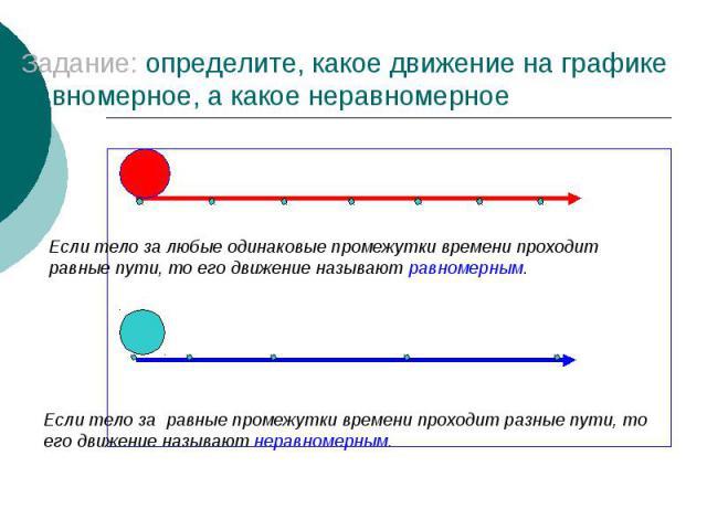 Задание: определите, какое движение на графике равномерное, а какое неравномерное Если тело за любые одинаковые промежутки времени проходит равные пути, то его движение называют равномерным.Если тело за равные промежутки времени проходит разные пути…