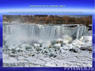 Hugeblocks of ice,icebergs,with a roarandrumbleshatteredanddisappearedi