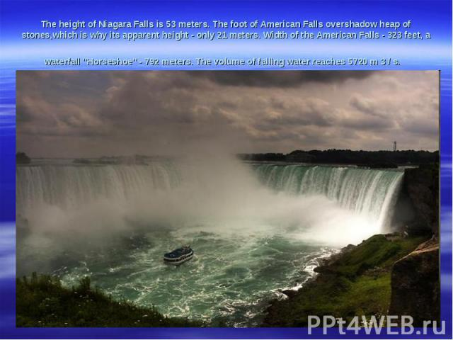 The heightof NiagaraFallsis 53meters.The foot ofAmericanFallsovershadowheap of stones,which is whyits apparentheight -only21 meters.Widthof the AmericanFalls- 323feet, a waterfall