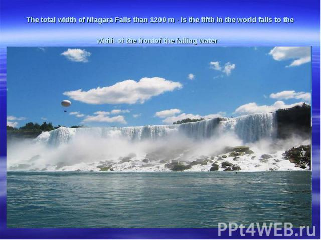 The total width ofNiagara Fallsthan 1200m-is the fifthin the worldfallsto the widthof the frontof the falling water