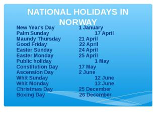 NATIONAL HOLIDAYS IN NORWAY New Year's Day1 JanuaryPalm Sunday 17 AprilMaundy Th
