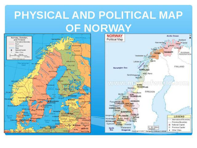 PHYSICAL AND POLITICAL MAP OF NORWAY