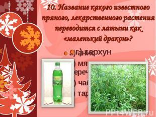 10. Название какого известного пряного, лекарственного растения переводится с ла