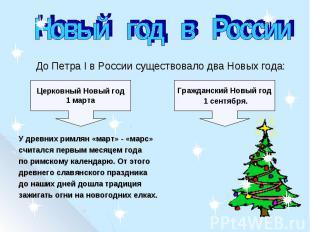 Новый год в Россиия первым месяцем года по римскому календарю. От этого древнего