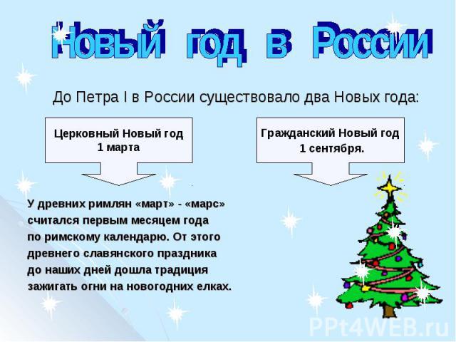 Новый год в Россиия первым месяцем года по римскому календарю. От этого древнего славянского праздника до наших дней дошла традиция зажигать огни на новогодних елках. До Петра I в России существовало два Новых года:У древних римлян «март» - «марс» с…