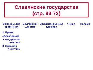Славянские государства(стр. 69-73)