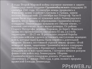 В годы Второй Мировой войны огромное значение в защите Ленинграда имеет создание