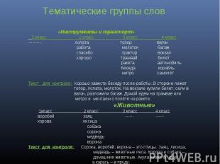 Тематические группы слов «Инструменты и транспорт» 1 класс 2 класс 3 класс 4 кла