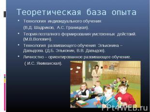 Теоретическая база опытаТехнология индивидуального обучения (В.Д. Шадриков, А.С.