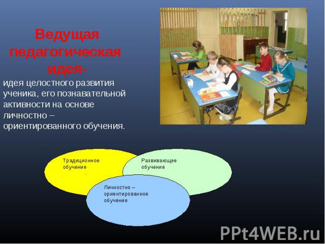 Ведущая педагогическая идея-идея целостного развития ученика, его познавательной активности на основе личностно – ориентированного обучения.