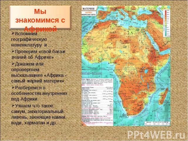 Мы знакомимся с АфрикойВспомним географическую номенклатуру и …Проверим «свой багаж знаний об Африке»Докажем или опровергнем высказывание «Африка - самый жаркий материк»Разберемся в особенностях внутренних вод АфрикиУзнаем что такое: самум, экватори…