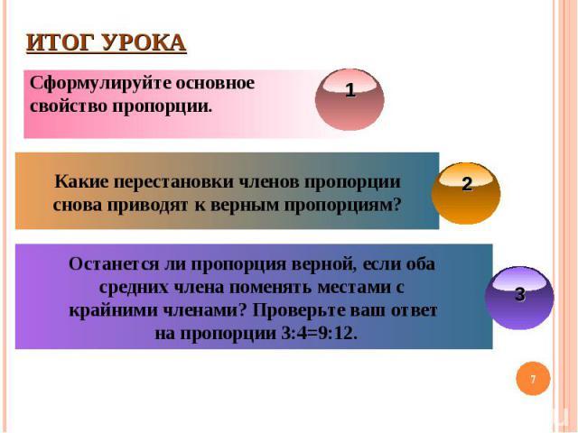 Итог урокаСформулируйте основное свойство пропорции.Какие перестановки членов пропорцииснова приводят к верным пропорциям?Останется ли пропорция верной, если оба средних члена поменять местами с крайними членами? Проверьте ваш ответ на пропорции 3:4=9:12.