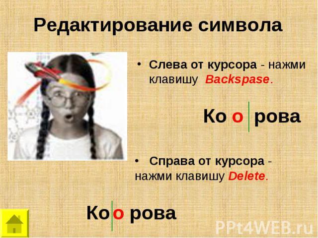 Редактирование символаСлева от курсора - нажми клавишу Backspase. Справа от курсора - нажми клавишу Delete.