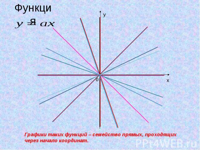ФункцияГрафики таких функций – семейство прямых, проходящих через начало координат.
