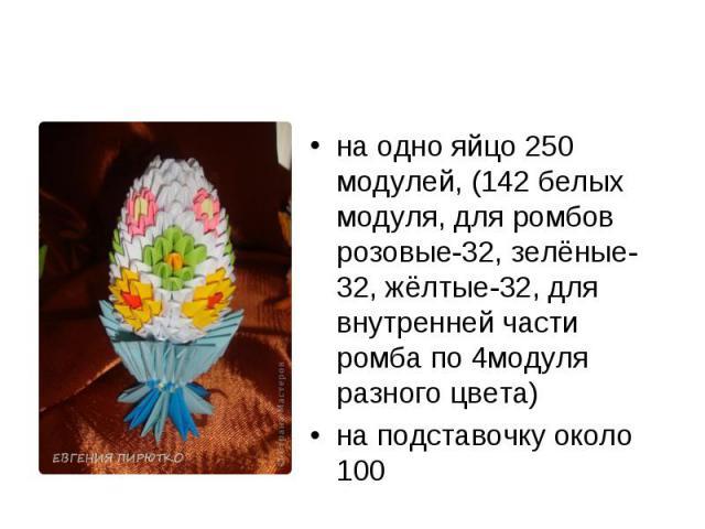 на одно яйцо 250 модулей, (142 белых модуля, для ромбов розовые-32, зелёные-32, жёлтые-32, для внутренней части ромба по 4модуля разного цвета)на подставочку около 100