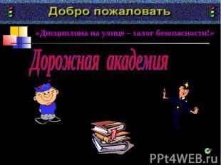 «Дисциплина на улице – залог безопасности!»Дорожная академия