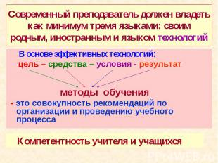 Современный преподаватель должен владеть как минимум тремя языками: своим родным