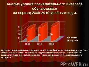 Анализ уровня познавательного интереса обучающихся за период 2008-2010 учебные г