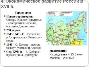 4. Экономическое развитие России в XVII в.Территория Новые территории: Сибирь, Ю