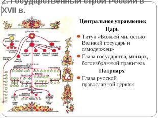 2. Государственный строй России в XVII в.Центральное управление:Царь Титул «Божь
