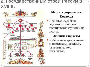 2. Государственный строй России в XVII в.Местное управлениеВоеводыВоенные, судеб