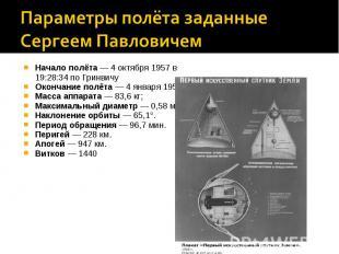 Параметры полёта заданные Сергеем ПавловичемНачало полёта—4 октября1957в 19: