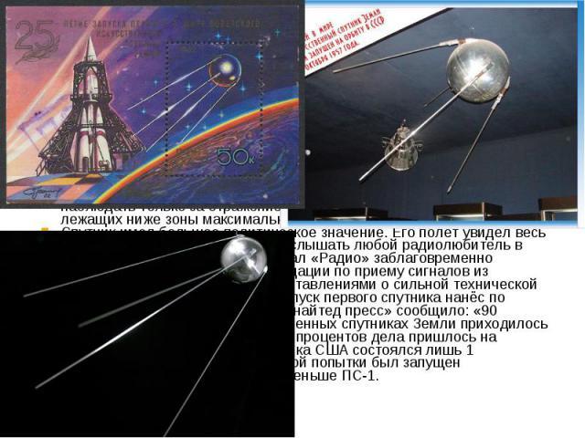 Официально «Спутник-1», как и «Спутник-2»,Советский Союззапускал в соответствии с принятыми на себя обязательствами поМеждународному Геофизическому Году. Спутник излучал радиоволны на двух частотах 20,005 и 40,002 МГц в виде телеграфных посылок д…