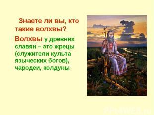 Знаете ли вы, кто такие волхвы? Волхвы у древних славян – это жрецы (служители к