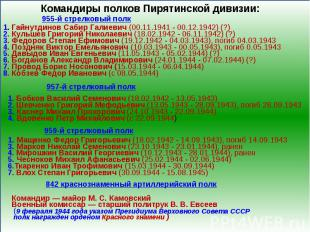 Командиры полков Пирятинской дивизии:1. Гайнутдинов Сабир Галиевич (00.11.1941 -