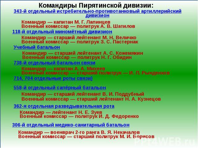 Командиры Пирятинской дивизии:343-й отдельный истребительно-противотанковый артиллерийский дивизион