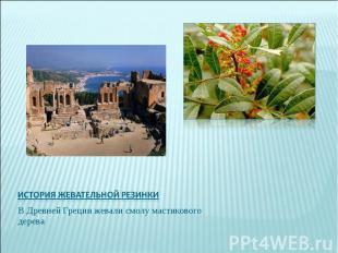 История жевательной резинкиВ Древней Греции жевали смолу мастикового дерева
