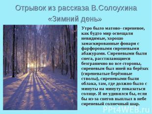 Отрывок из рассказа В.Солоухина «Зимний день» Утро было матово- сиреневое, как б