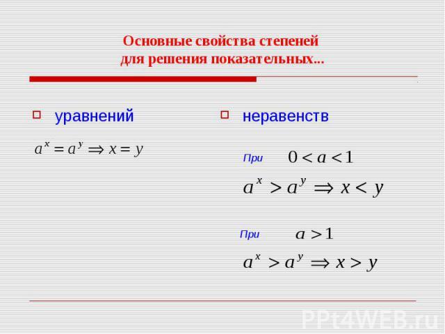 Основные свойства степеней для решения показательных...уравненийнеравенств При При