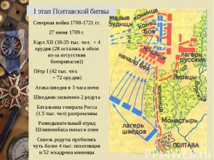 I этап Полтавской битвыСеверная война 1700-1721 гг.27 июня 1709 г.Карл XII (30-3