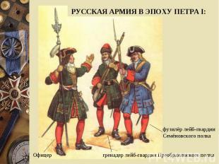 РУССКАЯ АРМИЯ В ЭПОХУ ПЕТРА I:фузилёр лейб-гвардии Семёновского полкагренадер ле