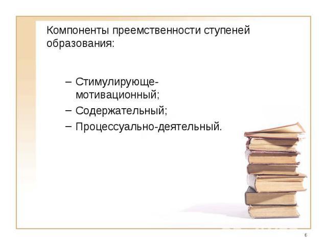 Компоненты преемственности ступеней образования:Стимулирующе-мотивационный;Содержательный;Процессуально-деятельный.