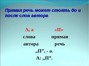 Прямая речь может стоять до и после слов автора А, а «П» слова прямаяавтора речь