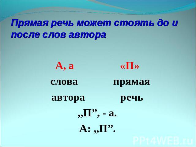 """Прямая речь может стоять до и после слов автора А, а «П» слова прямаяавтора речь,,П"""", - а.А: ,,П""""."""